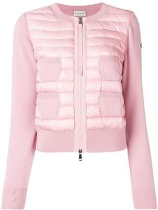 Moncler knitted sleeve quilted jacket