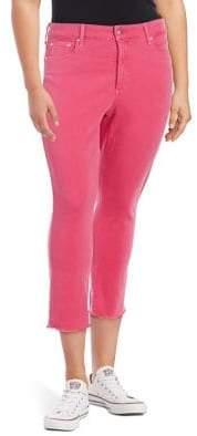 NYDJ Plus Sheri Frayed Slim Ankle Jeans