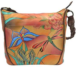 Anuschka Anna by Women's Genuine Leather Medium Hobo | Hand Painted Original Artwork | Zip-Top Shoulder Organizer |Jewel Wing