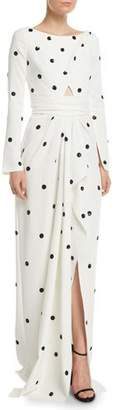 Oscar de la Renta Long-Sleeve Bateau-Neck Drape-Front Sequin Polka-Dot Silk Georgette Gown