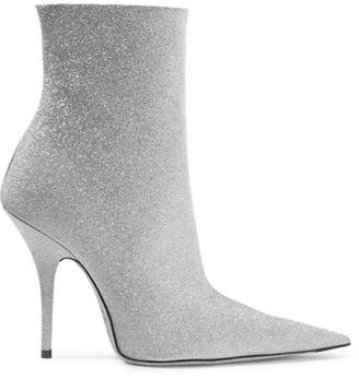 Balenciaga Knife Glittered Leather Ankle Boots - Silver