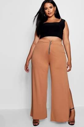 boohoo Plus O Ring Zip Wide Leg Trouser