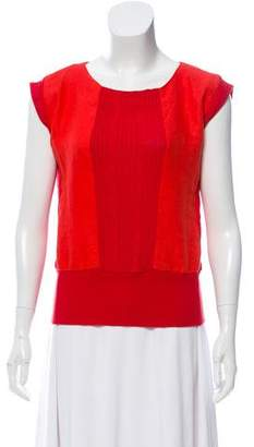 Steven Alan Sleeveless Woven Cable-Knit Top