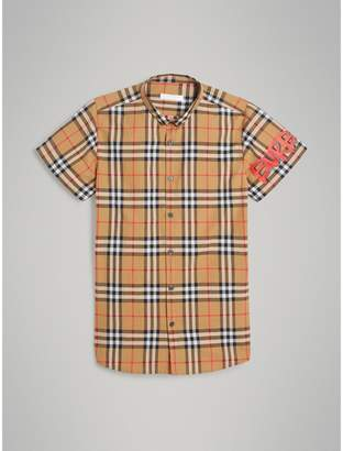 Burberry Short-sleeve Graffiti Print Check Cotton Shirt