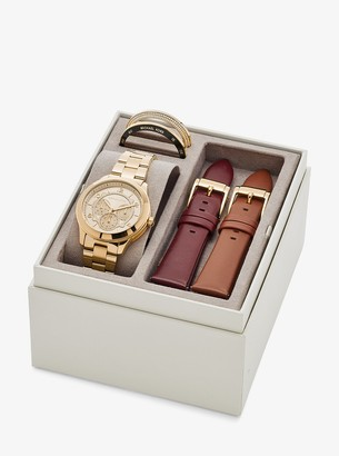 Michael Kors Runway Gold-Tone and Leather Interchangeable Watch Set