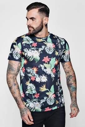 boohoo Slogan Floral Sublimation T-Shirt With Curve Hem
