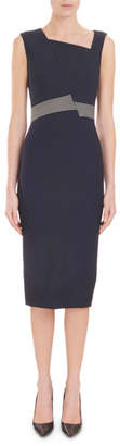Roland Mouret Sleeveless Stripe-Waist Fitted Crepe Midi Cocktail Dress