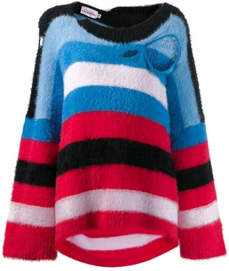 Charles Jeffrey Loverboy distressed striped sweater