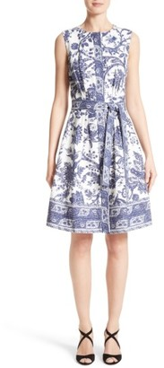 Women's Oscar De La Renta Print Fit & Flare Dress $2,190 thestylecure.com