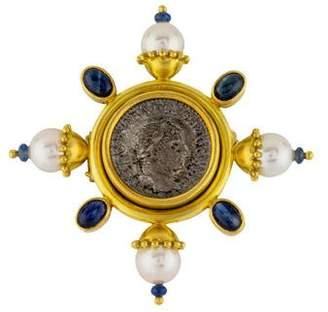 Elizabeth Locke 18K Pearl & Sapphire Ancient Coin Brooch