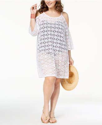 Dotti Plus Size Boho Mood Sheer Cold-Shoulder Cover-Up Women's Swimsuit