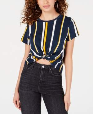 Polly & Esther Juniors' Striped Knot-Front Cropped T-Shirt