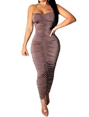 MEALIYA Maxi Dress Ruched Strapless Clubwear Bodycon Tube Dresses for Women Sexy