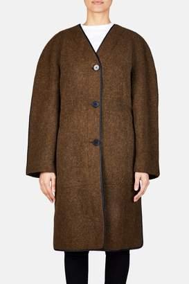 Lemaire Soft Melton Wool Coat - Peat