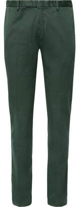 Boglioli Dark-Green Slim-Fit Stretch-Cotton Drill Suit Trousers