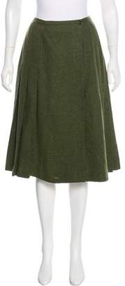 Cacharel Virgin Wool Pleated Wrap Skirt