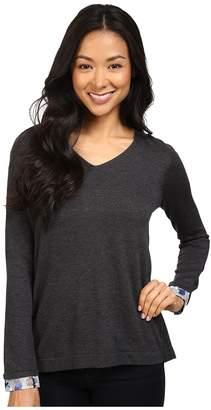 NYDJ Petite Petite Mixed Media V-Neck Sweater Women's Sweater