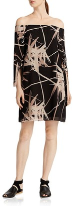 HALSTON HERITAGE Printed Off-the-Shoulder Dress $325 thestylecure.com