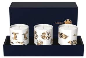 Floraiku Mimosa Shadowing Set of Three Candle Tea Cups
