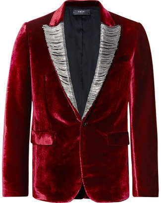 Amiri Burgundy Slim-Fit Chain-Detailed Leather-Trimmed Silk-Velvet Blazer