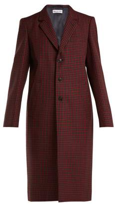 Balenciaga Single Breasted Checked Wool Coat - Womens - Burgundy Multi