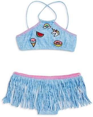 Pilyq Girls' 2-Piece Shimmer Patch & Fringe Swimsuit - Little Kid, Big Kid