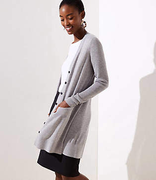 LOFT Long V-Neck Pocket Cardigan