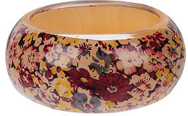 Floral Inlay Lucite Bangle