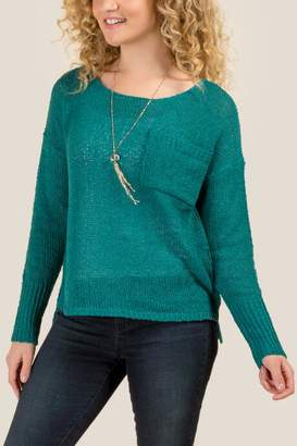 francesca's Morgan Knit Pullover Sweater - Forest