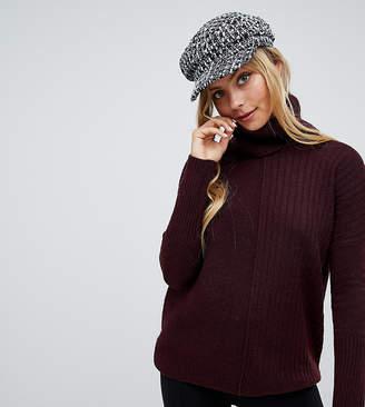 Miss Selfridge roll neck sweater in burgundy