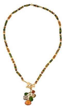 Laura Gibson 22K Hessonite Garnet, Diopside & Smoky Quartz Bead Necklace