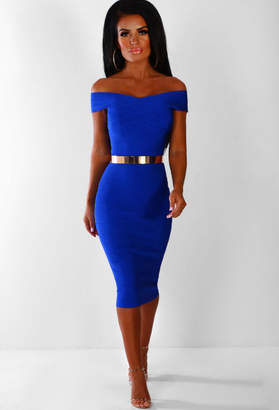 Pink Boutique All The Attention Cobalt Blue Bardot Bandage Midi Dress