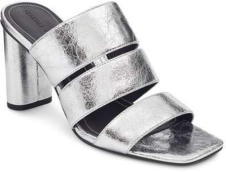 Kendall And Kylie Women's Leila Metallic Leather Block Heel Slide Sandals Clearance Genuine Discount Big Sale Outlet In China 9dVP3