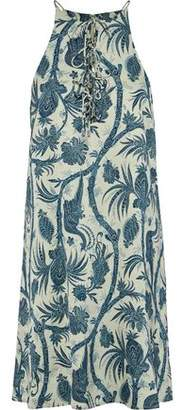 Zimmermann Lace-Up Printed Satin Mini Dress