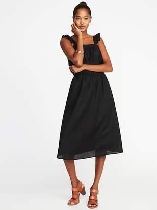 Old Navy Sleeveless Ruffle-Trim Linen-Blend Waist-Defined Dress for Women