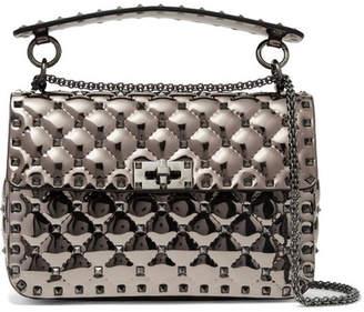 Valentino Garavani The Rockstud Spike Metallic Patent-leather Shoulder Bag - Gunmetal