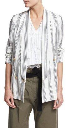 Brunello Cucinelli Micro Paillette Striped Blazer, White $3,995 thestylecure.com