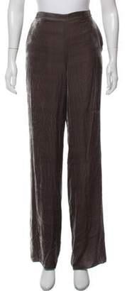 St. John Velvet Wide-Leg Pants Grey Velvet Wide-Leg Pants
