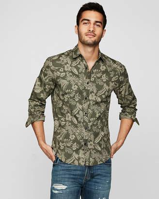 Express Slim Tropical Floral Cotton Shirt