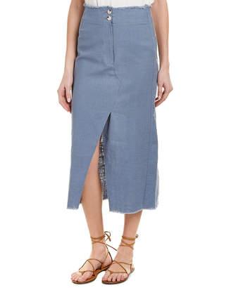 Moon River Faux Wrap Linen-Blend Midi Skirt