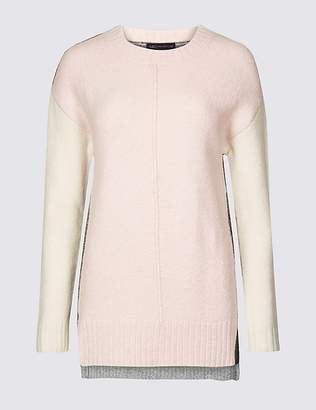 Marks and Spencer Colour Block Round Neck Jumper