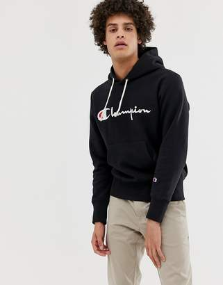 Champion Hoodie With Large Logo In Black