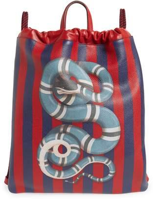 Gucci Kingsnake Stripe Leather Drawstring Backpack