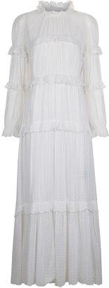 White Flocked Spot Yukio Midi Dress