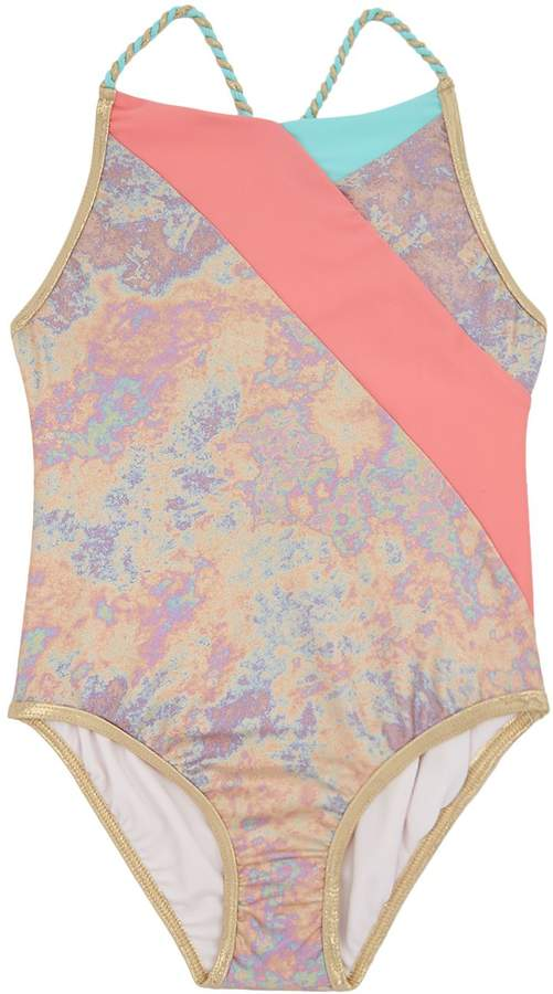 Marc Jacobs Iridescent Colour Block Swimsuit, White, 2 Years