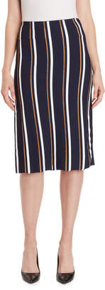 Cédric Charlier Lurex Striped Midi Skirt