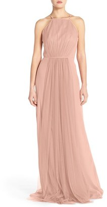 Women's Monique Lhuillier Bridesmaids Chiffon & Tulle Halter Gown $298 thestylecure.com