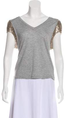 Elizabeth and James Sequined-Trimmed V-Neck Top