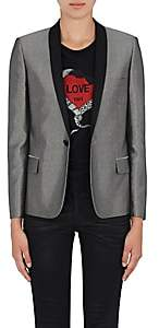 Saint Laurent Women's Satin-Collar Metallic Tuxedo Jacket - Silver
