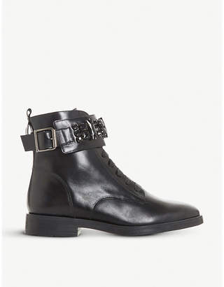 Dune Rebekha jewelled-strap leather boots
